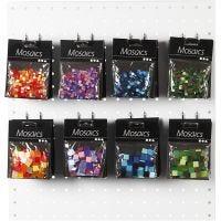 Mini mosaico , medidas 5x5+10x10 mm, azul/gris harmonía, verde purpurina, lila/lila oscuro, rojo / naranja, 80 paquete/ 1 paquete