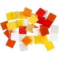 Mini mosaico , medidas 10x10 mm, rojo / naranja, 25 gr/ 1 paquete