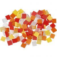 Mini mosaico , medidas 5x5 mm, rojo / naranja, 25 gr/ 1 paquete