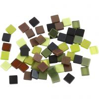 Mini mosaico , medidas 5x5 mm, verde purpurina, 25 gr/ 1 paquete