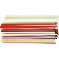 Pajitas para construcción , L. 12,5 cm, dia: 3 mm, surtido de colores, 3200 ud/ 1 paquete
