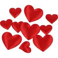 Corazón de satén, medidas 10+20 mm, rojo, 70 ud/ 1 paquete
