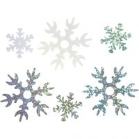 Lentejuelas, dia: 25+45 mm, azul claro, plata, blanco, 30 gr/ 1 paquete