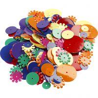 Lentejuelas Pailletmix, Redondo, medidas 10-25 mm, surtido de colores, 35 gr/ 1 paquete