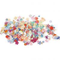 Lentejuelas, dia: 5-20 mm, colores pastel, 10 gr/ 1 paquete