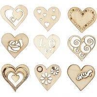 Decoraciones de madera, Amor, medidas 28 mm, 45 ud/ 1 paquete