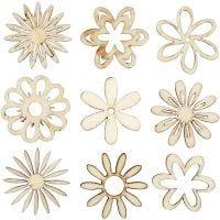 Decoraciones de madera, Flores, medidas 28 mm, 45 ud/ 1 paquete