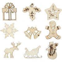 Decoraciones de madera, Navidad, medidas 28 mm, 45 ud/ 1 paquete