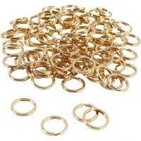 Anillas para llaveros, dia: 15 mm, dorado/plateado, 100 ud/ 1 paquete