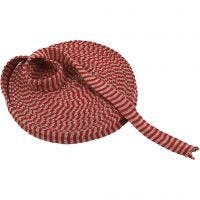 Tubo de punto, A: 22 mm, rojo/verde navideños, 10 m/ 1 rollo