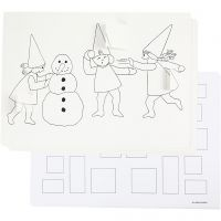 Calendario de Adviento con elfos teniendo una pelea de bola de nieve, A3, 30 ud/ 1 paquete