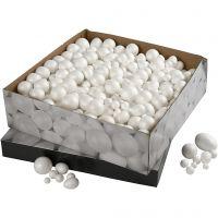 Bolas y huevos de poliestireno, medidas 1,5-6,1 cm, blanco, 550 ud/ 1 paquete