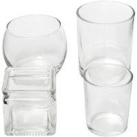 Porta velas de cristal, A: 5,3-9,2 cm, dia: 4,5-7,3 cm, El contenido puede variar , 72 ud/ 1 caja
