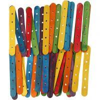 Palos con agujeros, L. 15 cm, A: 1,8 cm, medida agujero 4 mm, surtido de colores, 500 stdas/ 1 paquete