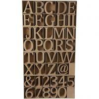 Letras, números y símbolos de madera, A: 13 cm, grosor 2 cm, 160 ud/ 1 paquete
