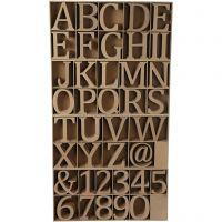Letras, números y símbolos de madera, A: 8 cm, grosor 1,5 cm, 240 ud/ 1 paquete