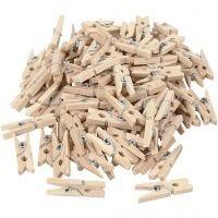 Pinza de madera, L. 25 mm, A: 3 mm, 100 ud/ 1 paquete