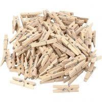 Mini pinza de madera, L. 30 mm, A: 3 mm, 100 ud/ 1 paquete