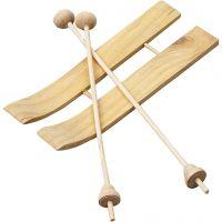 Esquís de madera, medidas 11x3,8 cm, 3 par/ 1 paquete