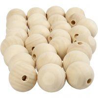 cuentas de madera, dia: 25 mm, medida agujero 4,5 mm, 100 ud/ 1 paquete