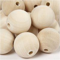 cuentas de madera, dia: 30 mm, medida agujero 5 mm, 50 ud/ 1 paquete