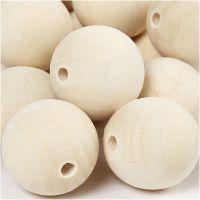 cuentas de madera, dia: 35 mm, medida agujero 6 mm, 50 ud/ 1 paquete