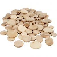 Botón de madera, dia: 20-35 mm, grosor 4 mm, 320 ud/ 1 paquete