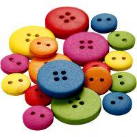 Botones de madera, dia: 12-20 mm, 2-4 agujeros, surtido de colores, 360 ud/ 1 paquete