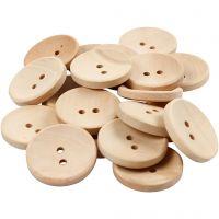 Botones de madera, dia: 23 mm, medida agujero 2 mm, 2 agujeros, 20 ud/ 1 paquete