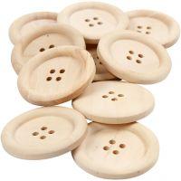 Botones de madera, dia: 35 mm, medida agujero 2 mm, 4 agujeros, 10 ud/ 1 paquete