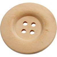 Botones de madera, dia: 40 mm, medida agujero 3 mm, 4 agujeros, 6 ud/ 1 paquete