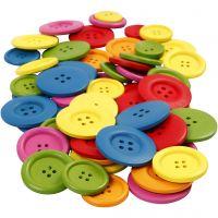 Botones de madera, dia: 25-40 mm, 2-4 agujeros, surtido de colores, 144 ud/ 1 paquete