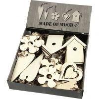Ornamentos de madera, medidas 6,5-21,5 cm, grosor 5 mm, 100 ud/ 1 paquete