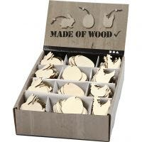 Ornamentos de madera, conejo, huevo, gallina, medidas 6 cm, grosor 3 mm, 200 ud/ 1 paquete