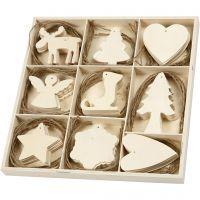 Ornamentos de madera, Navidad, medidas 7-8 cm, 72 ud/ 1 paquete