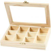 Caja con tapa de cristal, medidas 15,5x20,5x3,5 cm, 1 ud