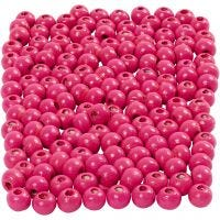 Cuentas de madera , dia: 5 mm, medida agujero 1,5 mm, rosa, 6 gr/ 1 paquete, 150 ud