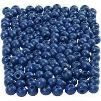Cuentas de madera , dia: 5 mm, medida agujero 1,5 mm, azul, 6 gr/ 1 paquete, 150 ud