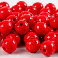 Cuentas de madera , dia: 12 mm, medida agujero 3 mm, rojo, 22 gr/ 1 paquete
