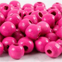 Cuentas de madera , dia: 12 mm, medida agujero 3 mm, rosa, 22 gr/ 1 paquete, 40 ud