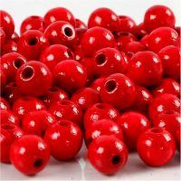 Cuentas de madera , dia: 8 mm, medida agujero 2 mm, rojo, 15 gr/ 1 paquete, 80 ud