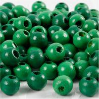 Cuentas de madera , dia: 8 mm, medida agujero 2 mm, verde, 15 gr/ 1 paquete, 80 ud