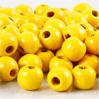 Cuentas de madera , dia: 10 mm, medida agujero 3 mm, amarillo, 20 gr/ 1 paquete