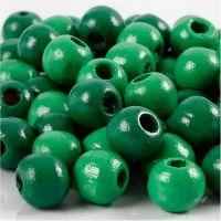 Cuentas de madera , dia: 10 mm, medida agujero 3 mm, verde, 20 gr/ 1 paquete