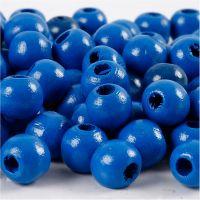 Cuentas de madera , dia: 10 mm, medida agujero 3 mm, azul, 20 gr/ 1 paquete
