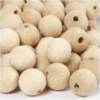 cuentas de madera, dia: 20 mm, medida agujero 4 mm, 200 ud/ 1 paquete