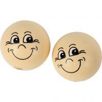 Pelotas de cara sonriente, dia: 22 mm, polvo claro, 10 ud/ 1 paquete
