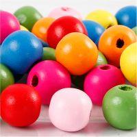 Surtido de cuentas de madera, dia: 12 mm, medida agujero 2,5-3 mm, surtido de colores, 22 gr/ 1 paquete