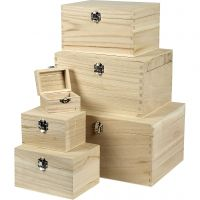Set de cajas, A: 5+7+9+11+13+15 cm, L. 8+11,8+15,8+20+24+27,7 cm, A: 5,8+8,8+12+15+18+21 cm, 6 ud/ 1 set