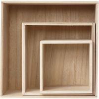 Cajas de almacenamiento, cuadrado, A: 15x15+21,5x21,5+28x28 cm, profundidad 12,5 cm, 3 ud/ 1 set
